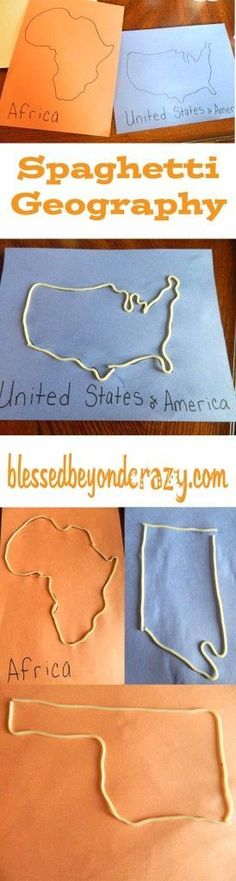 5 Games to make Geography Exciting! Spaghetti geography! Perfect for geography review and/or homeschooling. From blessedbeyondcraz...