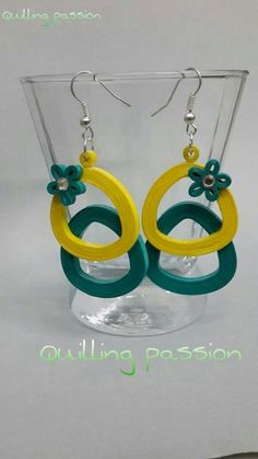 Quilled earring in lovely colour combination. Quiling Earings, Paper Quilling Earrings, Quilling Paper Craft, Paper Jewelry, Paper Beads, Jewelry Crafts, Handmade Jewelry, Paper Quilling Tutorial, Paper Quilling Patterns
