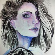 #art #design #illustration #watercolor #drawing #draw #woman #hair #beauty  instagram @rubianareolon