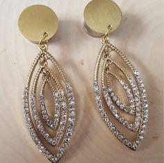 Gold Diamond Dangle Plug Gauges 0g 00g 7/16 1/2 9/16