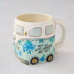 "Not All Who Wander Van Folk Mug - Always take the road less traveled… this groovy van mug inspires you to wander and reminds us that ""not all who wander are lost""."