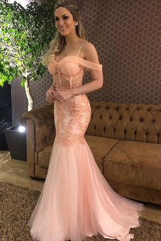 27daae7272e Spring Blush Mermaid Spaghetti Prom Dress Drop-Sleeves Party Gown OP442 –  ombreprom.co