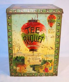 19th century Tee Riquet tea tin w/ artwork of Chinese lantern rising like balloon over Chinese pastoral scene, c. 1890s, Germany