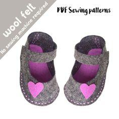 PDF sewing patterns for children / felt patterns, felt shoes, felt kids patterns, felt children patterns, felt baby shoes, felt easy sewing by BabyShoesShop on Etsy