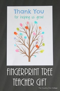 Teacher Gifts : Fingerprint tree teacher gift -- print this tree and add the fingerprints of the classroom for a great end of the year gift for any Craft Gifts, Diy Gifts, Cards Ideas, Student Teacher Gifts, Classroom Teacher, Teacher Cards, School Teacher, Fingerprint Art, Presents For Teachers