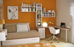 Cute home office idea - love the orange :)