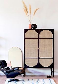 black wooden cabinet with cane waived door details - Home Dekor Rattan Furniture, Cabinet Furniture, Furniture Design, Furniture Removal, Office Furniture, Decoration Inspiration, Interior Inspiration, Decor Ideas, High Design