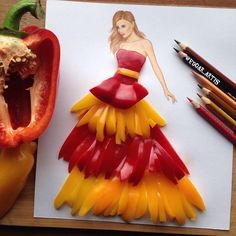 The creative illustrator Edgar Artis uses food and everyday objects to create illustrations that convey an impressive movement. Fashion Design Drawings, Fashion Sketches, Fashion Illustrations, Gown Drawing, Arte Fashion, 3d Fashion, High Fashion, Illustration Mode, Creative Artwork