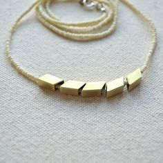 The Helsinki Series in Bone- Modern Geometric Necklace. $46.00, via Etsy.