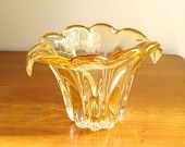 Vintage Hand Blown Art Glass Vase, Amber Blown Glass Vase, Flower Petal Vase