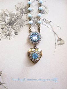 Vintage Locket Necklace / Sparkly Rhinestone Assemblage