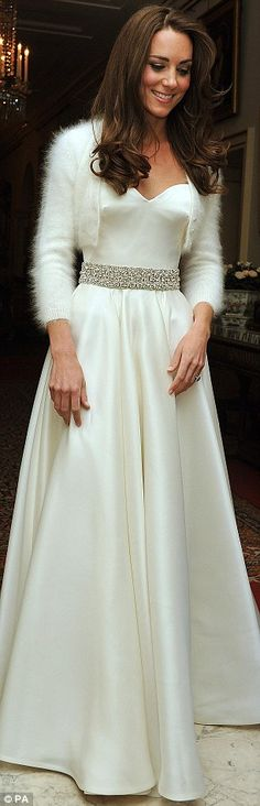 had to pin this of HRH Catherine in her Evening Wedding Gown ..it is sooo beautiful with the hint of cashmere & Angora wrapped around her shoulders
