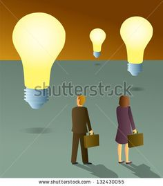 A business man and woman looking at a bunch of surreal floating light bulbs. - stock vector