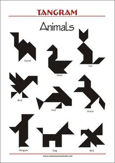 Tangram Animals - Worksheets with solutions - try to solve the puzzle shapes Christmas Art For Kids, Christmas Tree, Geometric Shapes Art, Tangram Puzzles, Kindergarten Learning, Subtraction Kindergarten, Animal Worksheets, Library Activities, Infant Activities