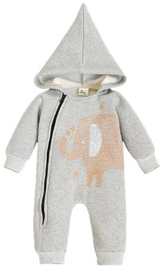 a1a983915 Amazon.com: Fiream Baby Cotton Animals Crewneck Romper Snapsuit Coverall:  Clothing Grey Elephant