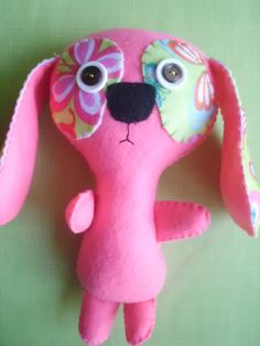 Stuffed Pink and Green Puppy Dog Plush Plushie Soft by MyWillies, $15.00