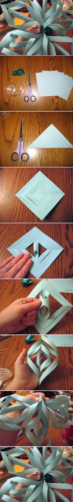 DIY Ideas: 3D Paper Snowflake All Things Christmas, Christmas Holidays, Christmas Decorations, Xmas, Frozen Baby Shower, Frozen Tea Party, 3d Paper Snowflakes, Christmas Origami, Winter Crafts For Kids