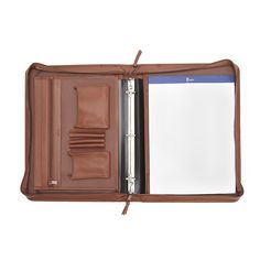 Royce Leather Deluxe Convertible Binder Padfolio, Brown