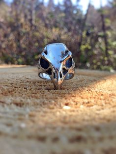 Raven Skull Ring / Sterling Silver / Hand Carved / Nordic jewelry Norse / viking jewelry unique jewelry dark witch mythical whimsical by CelticVikingJewelry on Etsy https://www.etsy.com/listing/129843626/raven-skull-ring-sterling-silver-hand