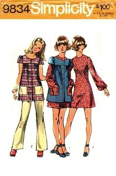 I made a couple of these smock tops in high school as well. Simplicity 9834 Womens / Teens Boho Mini Dress Smock & Pants Vintage Sewing Pattern Size 11 JP or Size 10 Vintage Outfits, Vintage Dresses, Vintage Fashion, 70s Fashion, Cheap Fashion, Fashion Women, Vintage Dress Patterns, Clothing Patterns, Moda Retro