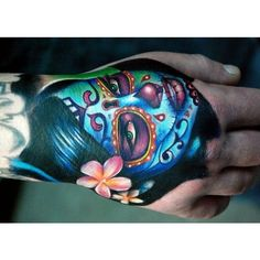 Sugar Skull Tattoo Design For Hand ❤ liked on Polyvore