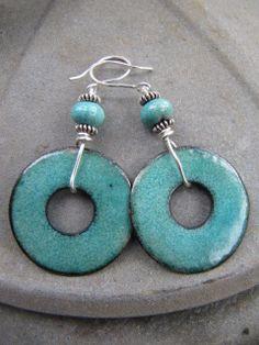 CMA Copper Enamel Earrings Green Ocean Donut Medium by Gasquetgirl, $32.00