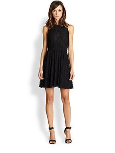 Alice + Olivia Leather-Trim Lace Racerback Dress