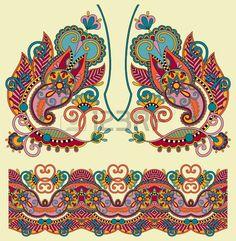 Escote diseño adornado floral paisley moda del bordado, estilo étnico ucraniano. Buen diseño para la ropa de impresión o la camisa. Foto de archivo