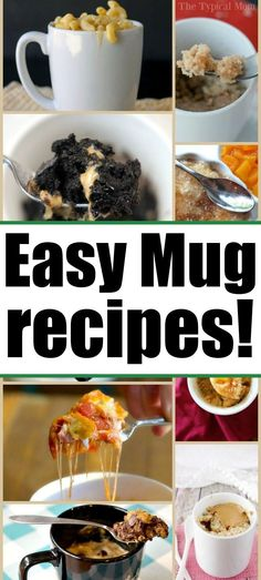 This contains: Mug recipes for breakfast dinner and dessert too. How to make a cake or pizza in a mug in the microwave in 1 minute. Single serving meals and desserts Microwave Mug Recipes, Mug Cake Microwave, Microwave Meals, Mug Dinner, Breakfast Recipes, Dessert Recipes, Dinner Recipes, Breakfast In A Mug, Appetizer Recipes