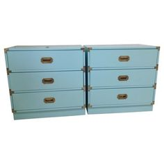 Check out this item at One Kings Lane! Aqua Campaign Chests, Pair
