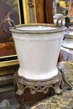 Crazed Look Porcelain Planter with Brass Rim and Handles on a Brass Riser Base…