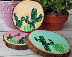 cactus coaster set cacti gifts hostess gift gifts for Mom cactus decor wood slice coasters home bar decor birthday gift Decoration Cactus, Cactus Craft, Cactus Gifts, Cactus Cactus, Indoor Cactus, Neon Cactus, Cactus Jack, Valentine Day Gifts, Christmas Gifts