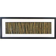 Bamboo shadow box. Bamboo arranged vertically in the center of a white mat surrounded by black frame creates unique piece of art. Hang vertically or horizontally. (DIY project)
