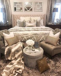 Bedroom Ideas fantabulous ref - Ingenious and cozy bedroom decor. Filed under diy bedroom decorating ideas, generated on 20190426 Glam Bedroom, Cozy Bedroom, Bedroom Apartment, Home Decor Bedroom, Modern Bedroom, Girls Bedroom, Bedroom Furniture, Contemporary Bedroom, Silver Bedroom