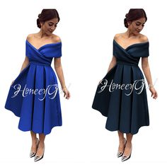 Evening Dress,Tea-Length Evening Dress,Off-the-Shoulder Evening Dresses,Elegant Party Dress for Women HG1185