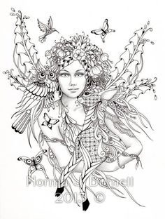Fairy of the Forest - Fairy Tangles Coloring Sheet Fairies Owls Deer Digi Coloring Page by Norma J Burnell 8x10 Coloring Sheet by FairyTangleArt on Etsy https://www.etsy.com/listing/182737058/fairy-of-the-forest-fairy-tangles