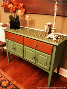 Retro Chic and Vintage Flair on Painted Furniture - Hollywood Squares Furniture Stencils - Royal Design Studio