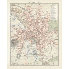 Hannover Antique Map Reproduction / Old Map Print of Hannover - handmade paper print. Old Maps, Antique Maps, Vintage World Maps, City Maps, Historical Maps, Wall Art Designs, Wall Decor, Canvas Prints, Antiques