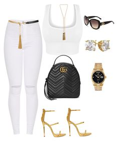"""Untitled #573"" by sanchez-drummond ❤ liked on Polyvore featuring Giuseppe Zanotti, Gucci, Rolex, Yves Saint Laurent and Lanvin"