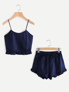 Shop Frill Trim Cami And Shorts Pajama Set online. SheIn offers Frill Trim Cami And Shorts Pajama Set & more to fit your fashionable needs. Cute Pjs, Cute Pajamas, Summer Pajamas, Satin Pyjama Set, Pajama Set, Lingerie Xxl, Summer Outfits, Cute Outfits, Summer Shorts