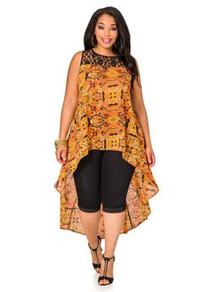 Lace Yoke Tribal Hi-low Blouse - Ashley Stewart African Print Dresses, African Print Fashion, Africa Fashion, African Fashion Dresses, African Dress, Fashion Prints, Ankara Fashion, African Prints, African Fabric