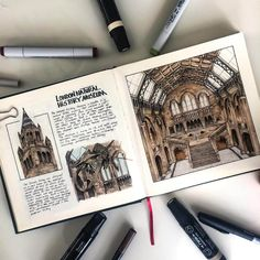 European Heritage Architectural Drawings - Natural History Museum by Oğuzhan Çengel - Sketchbook Layout, Travel Sketchbook, Arte Sketchbook, Sketchbook Inspiration, Sketch Journal, Architecture Sketchbook, Museum Architecture, Travel Drawing, A Level Art