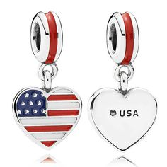 PANDORA American flag heart dangle charm with hand-applied red, white and blue enamel in sterling silver. For the globetrotter, update your bracelet with your favorite travel destination, your home country, or all the places you still want to explore and create your own travel collection!<br> <b> Style</b>791548ENMX