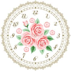 Vintage Clock Face With Roses Stock Vector - Illustration of decorative, elegant: 55369334 Clock Tattoo Design, Wall Clock Design, Clock Tattoos, Baby Tattoos, Funny Tattoos, Shabby Chic Vector, Clock Face Printable, Shabby Chic Clock, Clock Craft