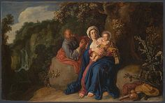 Artist  Pieter Lastman     Dates: 1583 - 1633  The Rest on the Flight into Egypt    Date made 1620    Medium and support  Oil on wood  Dimensions61.8 x 98.5 cm   Acquisition credit  On loan from the Master Governor of Trinity Hospital, Retford  Inventory number  L162