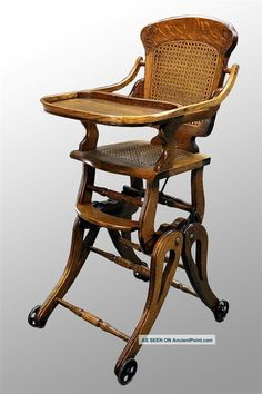 Antique Victorian Oak Up And Down High Chair   c.1800-1899