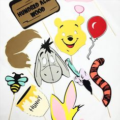 Winnie the Pooh photobooth props, bear props, photo booth