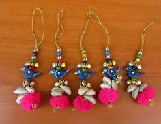 by vibrantscarves on Etsy Handmade Rakhi Designs, Saree Tassels Designs, Rakhi Making, Rakhi Gifts, Tassel Keychain, Tassel Jewelry, Bead Earrings, Yarn Crafts, Hand Embroidery