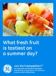 What fresh fruit is tastiest on a summer day? Watermelon and pineapple are my favorites on a summer day!  #GEfreshFL