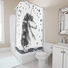 BELIEVE IN UNICORNS shower curtain